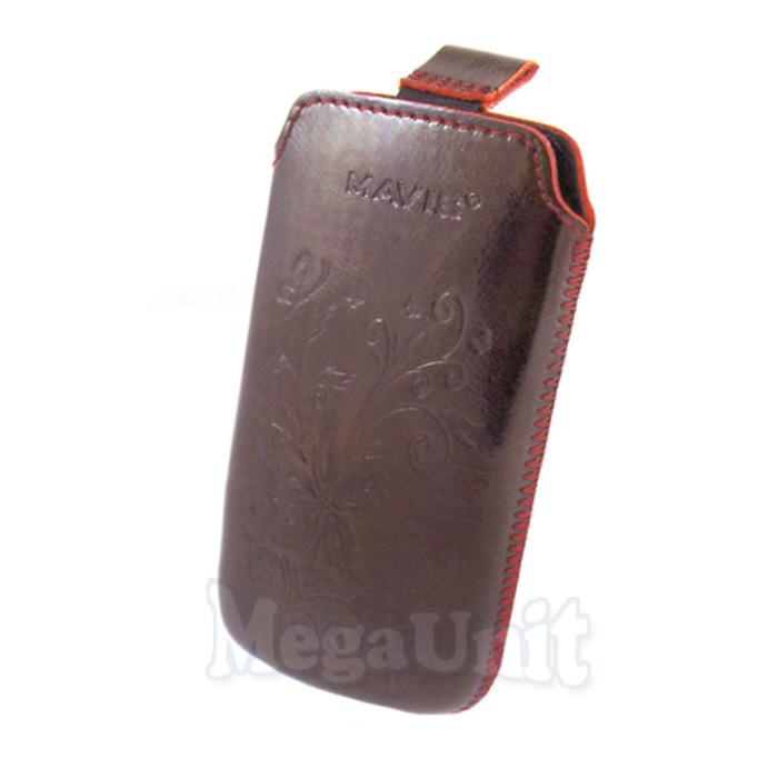 Кожаный чехол Samsung S6802 Ace duos. Mavis Premium flower Бордовый