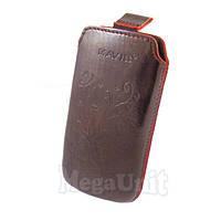 Кожаный чехол Nokia Asha 300. Mavis Premium flower Бордовый