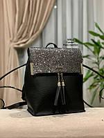 Стильный рюкзак Глиттер,кожзам, фото 3