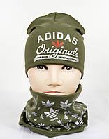 Трикотажный комплект Adidas (шапка+хомут) хаки+серебро