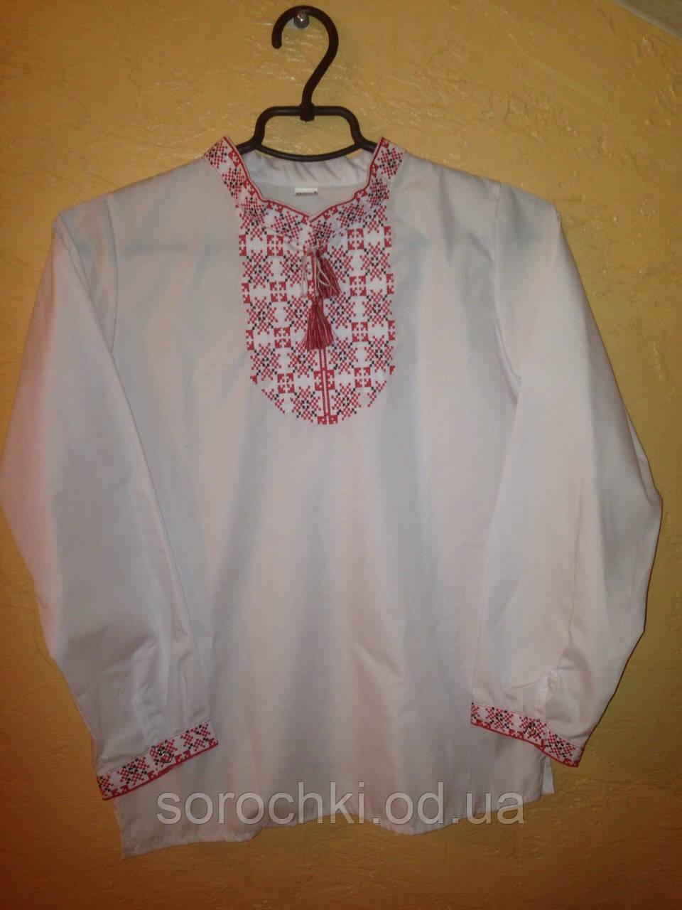 Сорочка вышиванка  детская, для мальчика,  белая цвет вышивки красный , поплин