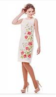 Льняное вышитое платье Ромашковое поле молочное  без рукавов 42, 44, 50, 56