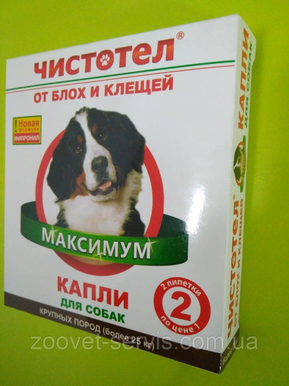 Капли от блох и клещей Чистотел Максимум для собак крупных пород весом более 25 кг 1 упаковка - 2 пипетки