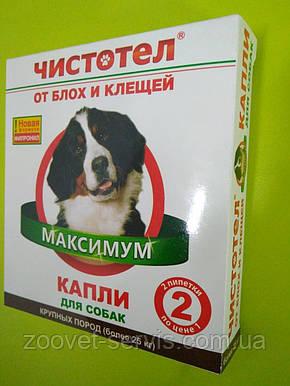Капли от блох и клещей Чистотел Максимум для собак крупных пород весом более 25 кг 1 упаковка - 2 пипетки, фото 2