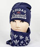 Трикотажный комплект Adidas (шапка+хомут) синий+серебро, фото 1