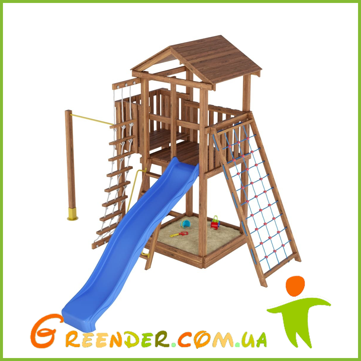 Деревянный спортивно-игровой комплекс с горкой Лидер 3