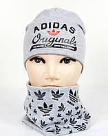 Трикотажный комплект Adidas на флисе (шапка+хомут) св.серый+черный