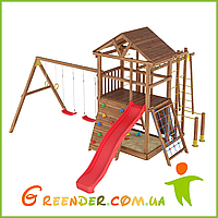 Деревянный спортивно-игровой комплекс с горкой и качелями Лидер 4