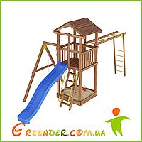 Деревянный спортивно-игровой комплекс с горкой и рукоходом Лидер 5