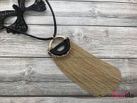Стильный кулон с золотыми цепочками на черном шнурке подвеска на шею 19249 (45 см)