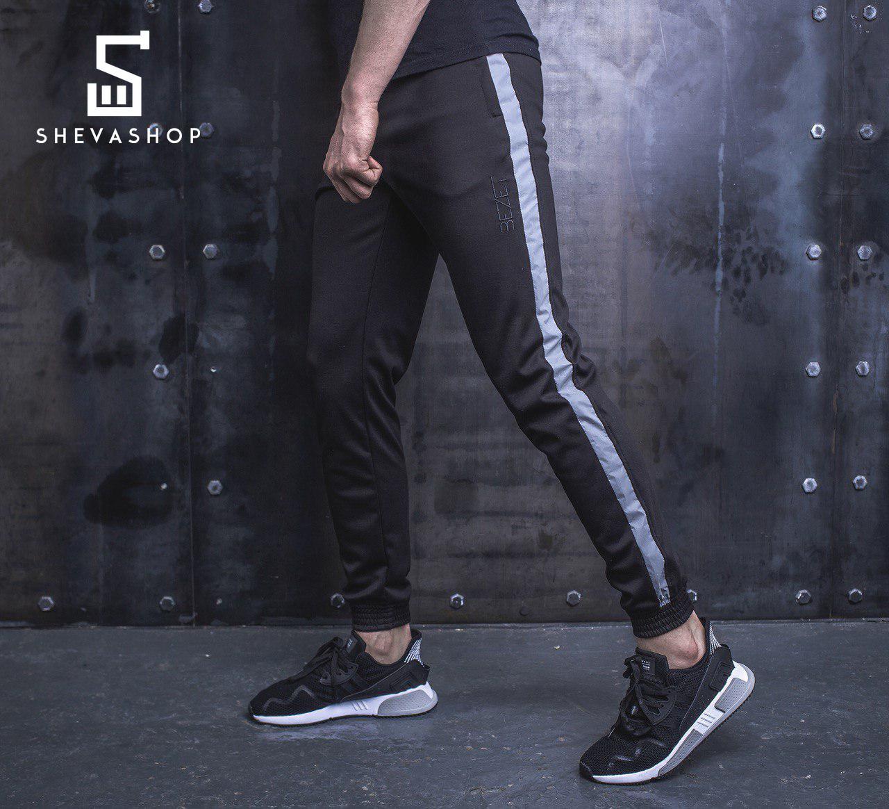 Спортивные штаны с рефлективными лампасами BeZet Power with reflective черные