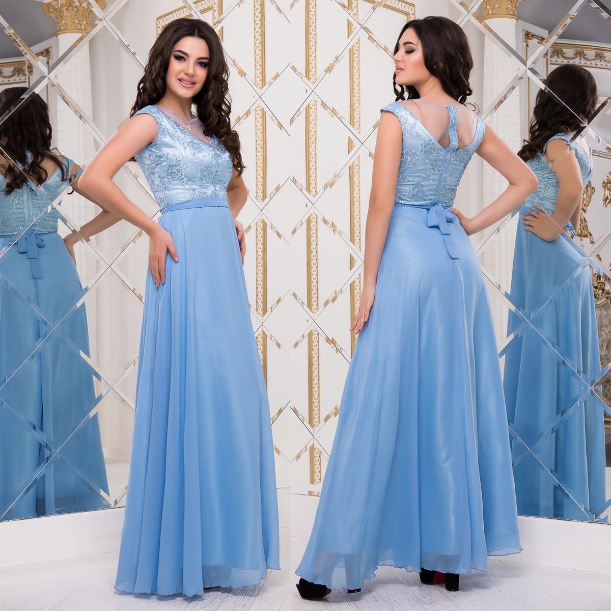 """Голубое выпускное длинное платье шифон """"Верона"""""""