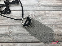На черном шнурке подвеска 19248 кулон с мелкими серебристыми цепочками (45 см)
