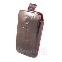 Кожаный чехол HTC WildFire S a510e. Mavis Premium heart Бордовый