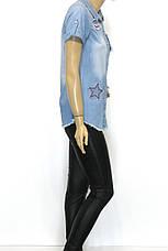 Женская джинсовая рубашка с коротким рукавом , фото 3