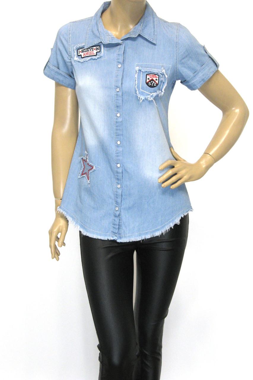 Женская джинсовая рубашка с коротким рукавом