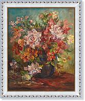 Репродукция  современной картины  «Цветы в ультрамариновой вазе»