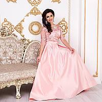 """Випускне атласне плаття максі зі шлейфом розмір M """"Аркадія"""", фото 1"""