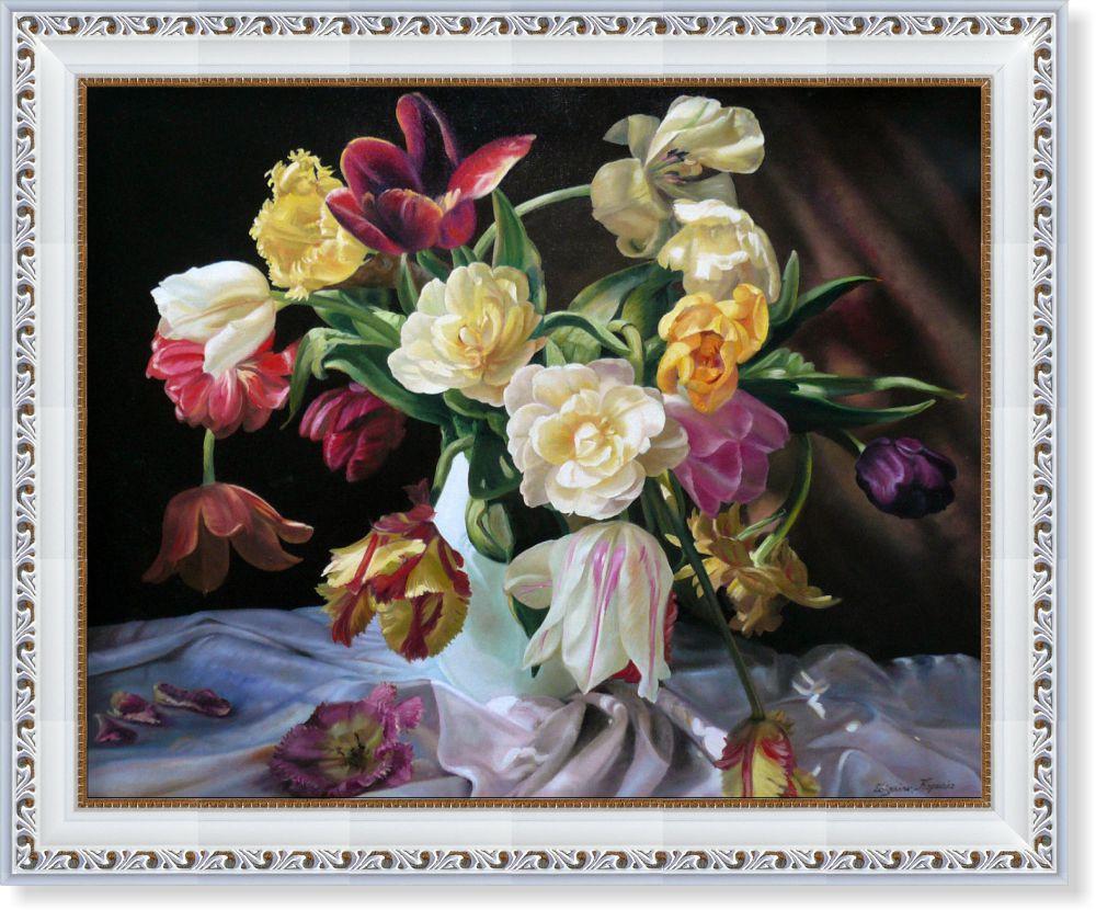 Репродукция  современной картины  «Букет на шёлковой скатерти»