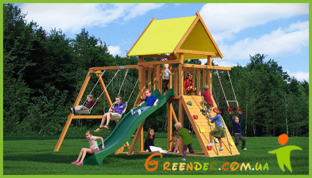 Деревянный детский комплекс горка с качелями Лидер 13