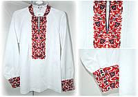Блуза женская с красной вышивкой