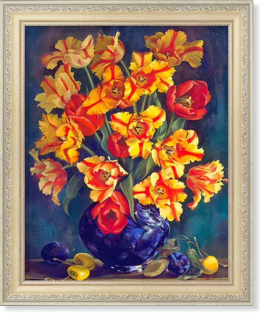 Репродукция  современной картины  «Тюльпаны Рафаэля»