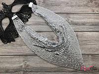 Колье серебристое с пайетками подвеска на шею 19243 (35 см) женские украшение