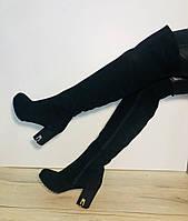 Зимние женские сапоги ботфорты из натурального замша на цигейке
