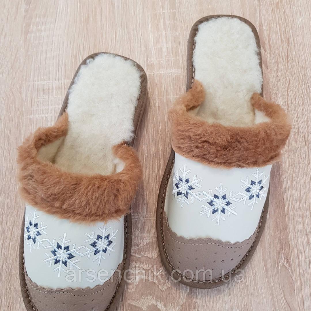 """Домашние кожаные тапочки женские на овчине """"Polmar"""" 40"""