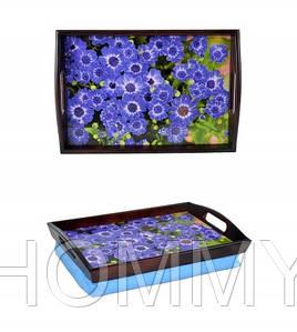 Поднос на подушке с ручками Синие цветы