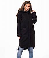 Женское черное пальто в стиле кэжуал 42,44,46,48,50,52,54