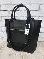 Деловая женская сумка из натуральной кожи, черная матовая 1635, фото 1