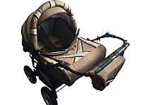 Универсальная коляска-трансформер для двойни Taurus Duo LEN, коричневый+т.молоко