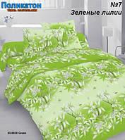 Ткань постельная поликоттон -  зелёные лилии.