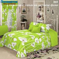Ткань постельная поликоттон -  белые лилии на зелёном фоне.