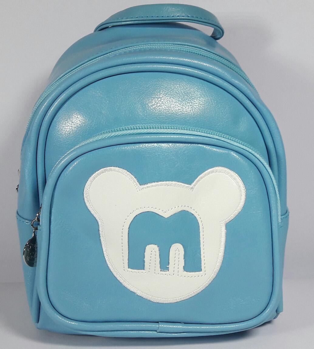 Рюкзак детский для девочки кожзаменитель цвет голубой