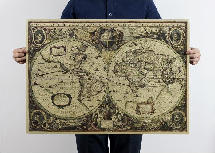 Большая, винтажная карта мира под старину. Карта на стену