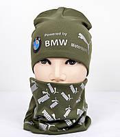 Трикотажный комплект Puma BMW (шапка+хомут) хаки+серебро, фото 1