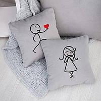 Набор подушек для влюбленных «Сердце в подарок»  флок