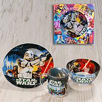 "Набор посуды для детей «Звёздные войны"" 3-х предметный. (Тарелка 195 мм, пиала 320 мл, чашка 250 мл)."
