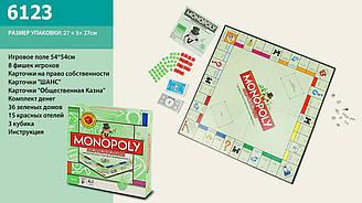 """Натільна гра """"Монополия"""" 6123 (24шт) карточки, кубики, фішки, гральне поле, в коробці 27*27*5 см"""