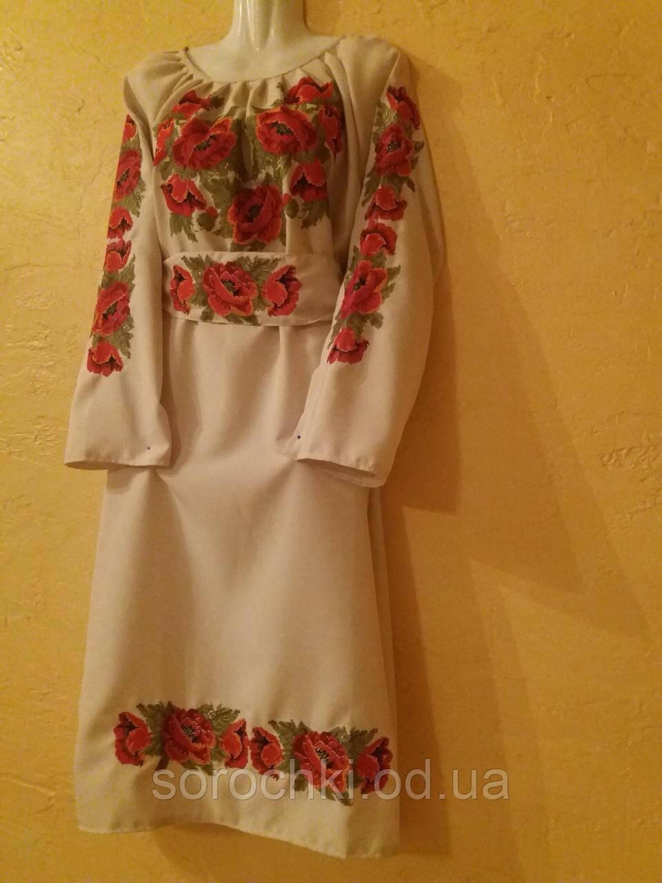 """Платье женское  с вышивкой , цветы , """"маки красные"""" .  бежевое,ленгабардин, прокат"""