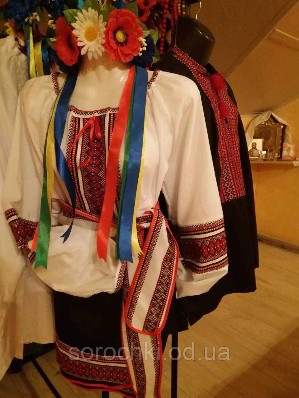 Блузка женская , с трехцветной вышивкой , белая , поплин, прокат