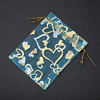 """Мешочки из органзы. Подарочные мешочки. Мешочек подарочный золотистые """"Сердца"""" голубая органза 12х9,5см 100шт."""