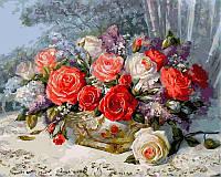 """Картины по номерам 40 × 50 см. """"Розы на веранде"""""""