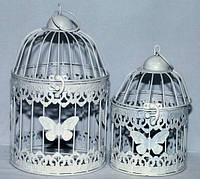 Красивая клетка для птиц белая с бабочками набор 2 шт