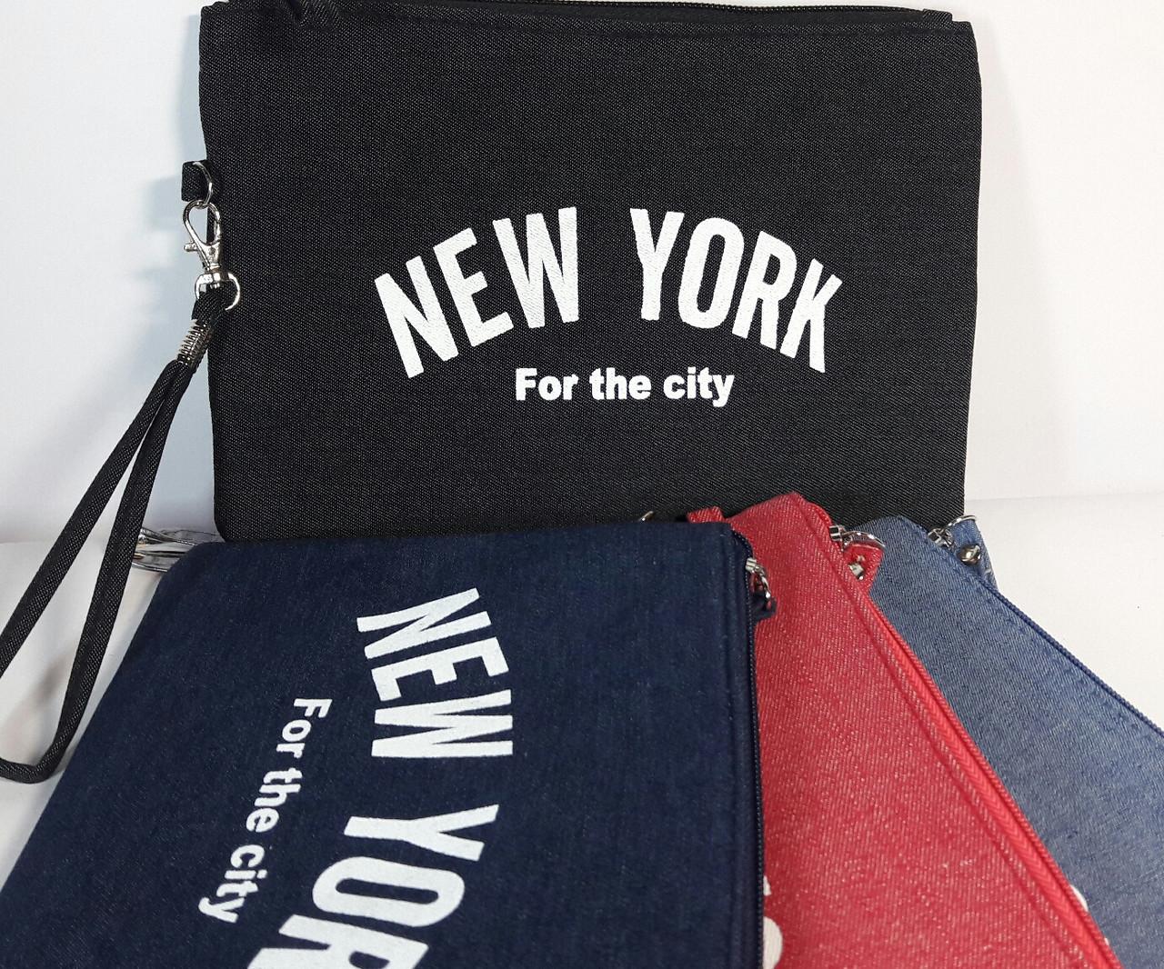 """Косметичка женская джинс """"New York"""""""