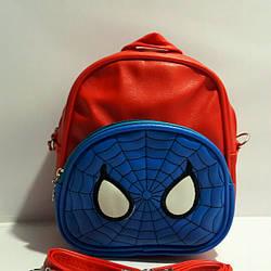 """Сумка-рюкзак для хлопчиків """"Павук"""" шкірозамінник червоний"""