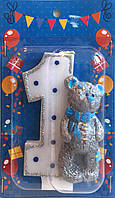 Свеча цифра 1 Мишка Тедди (мальчик)