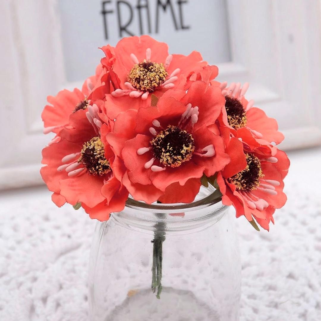 """Цветок """"Дикий мак""""   (букет 6 шт) цвет - коралловый"""